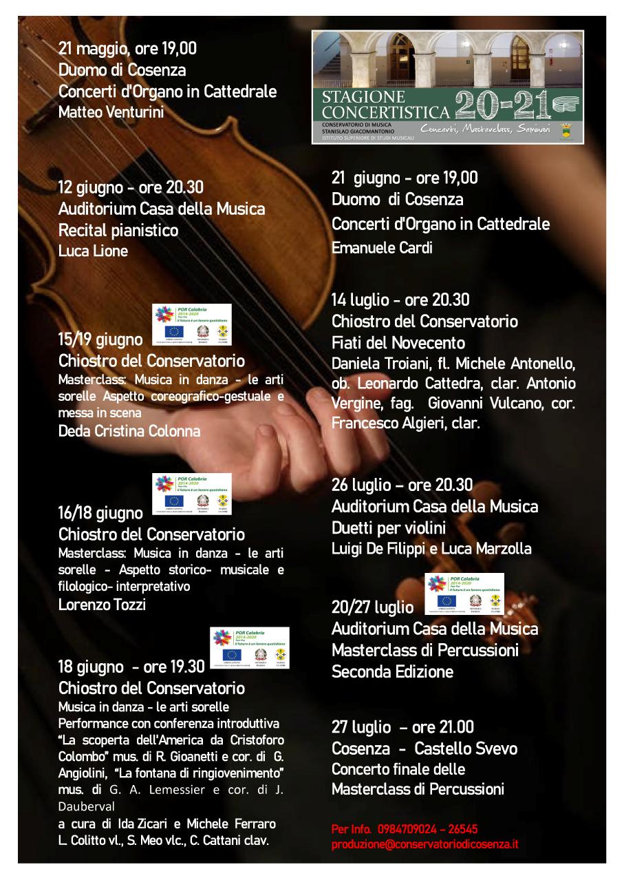LOCANDINA Stagione Concertistica 20-21